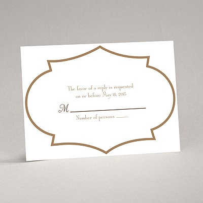 Geometric Glamour - Taupe Response Card and Envelope