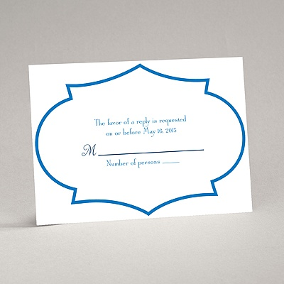 Geometric Glamour - Blue Response Card and Envelope