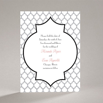 Geometric Glamour - Black Save the Date Card