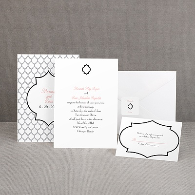 Geometric Glamour - Black Invitation