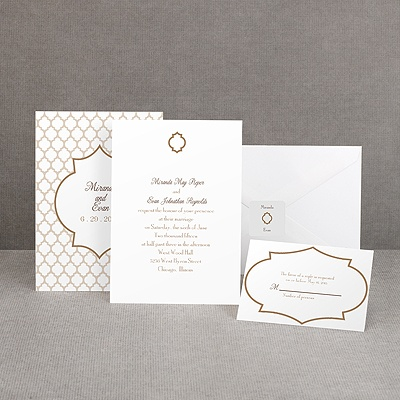 Geometric Glamour - Taupe Invitation