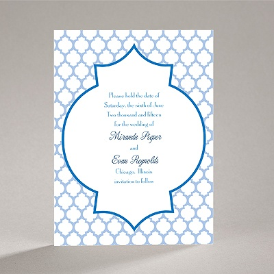 Geometric Glamour - Blue Save the Date Card