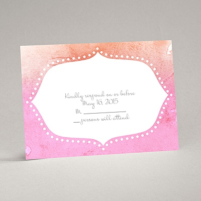 Watercolor Shading - Posie Pink - Response Card and Envelope
