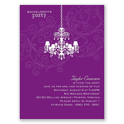 Chandelier Swirl - Purple - Bachelorette Party Invitation