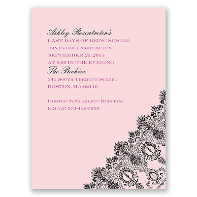 Romantic Lace - Pink - Bachelorette Party Invitation