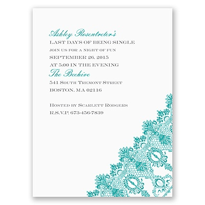 Romantic Lace - White - Bachelorette Party Invitation