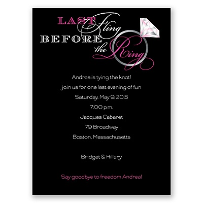 Last Fling - Pink - Bachelorette Party Invitation