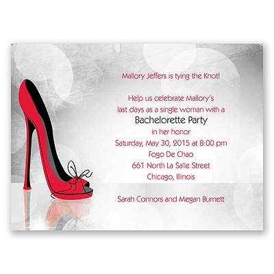 High Heel - Red - Bachelorette Party Invitation