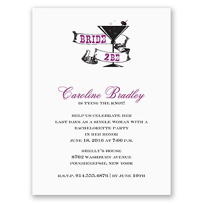 Cocktail - Purple - Bachelorette Party Invitation