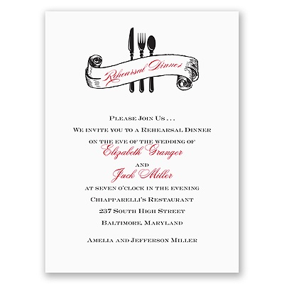 Silverware - Black - Rehearsal Dinner Invitation