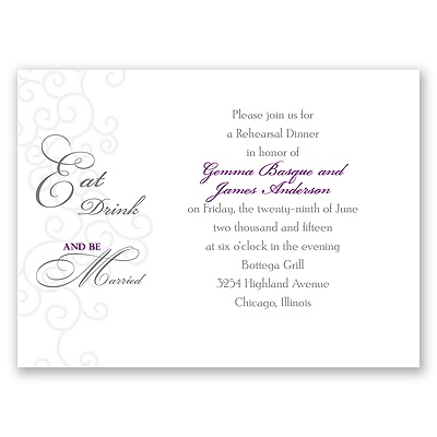 Be Married - Purple - Rehearsal Dinner Invitation
