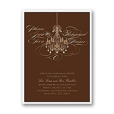 Elegant Chandelier - Brown - Rehearsal Dinner Invitation