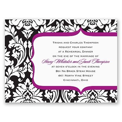 Damask Crest- Purple - Rehearsal Dinner Invitation