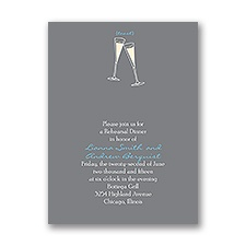Toasting - Grey - Rehearsal Dinner Invitation