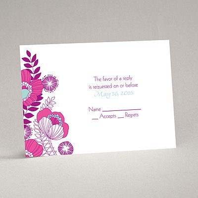 Modern Poppies - Amethyst - Response Card and Envelope
