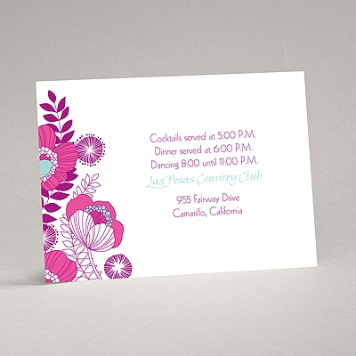 Modern Poppies - Amethyst - Reception Card