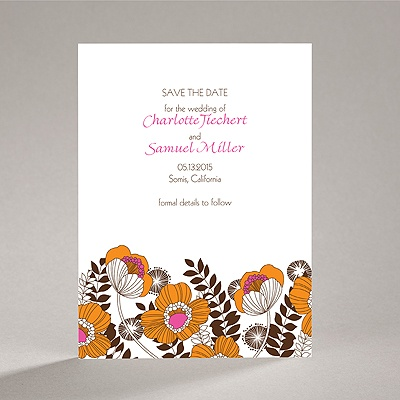 Modern Poppies - Espresso - Save the Date Card
