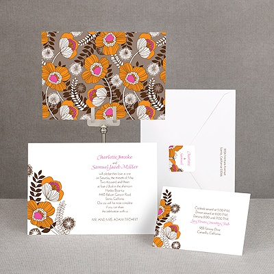 Modern Poppies - Espresso - Invitation