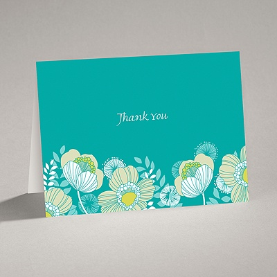 Modern Poppies - Peacock - Thank You Card and Envelope