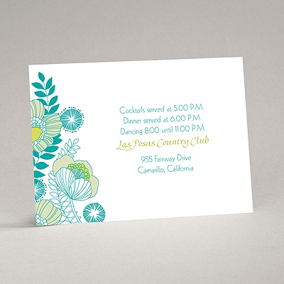 Modern Poppies - Peacock - Reception Card