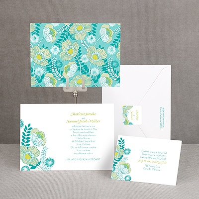 Modern Poppies - Peacock - Invitation