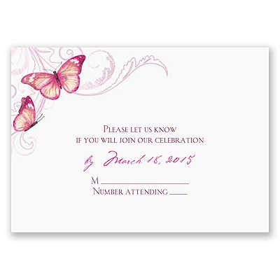 Delicate Butterfly - Fuchsia Response Card and Envelope