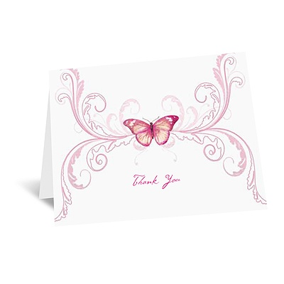 Delicate Butterfly - Fuchsia Thank You Card and Envelope