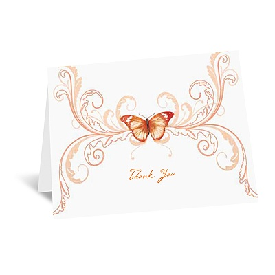 Delicate Butterfly - Orange Thank You Card and Envelope