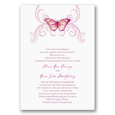 Delicate Butterfly - Fuchsia Invitation