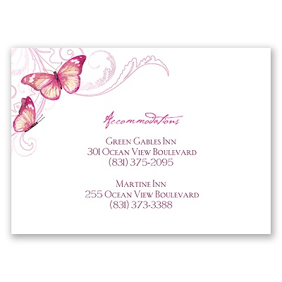 Delicate Butterfly - Fuchsia - Accommodations Card