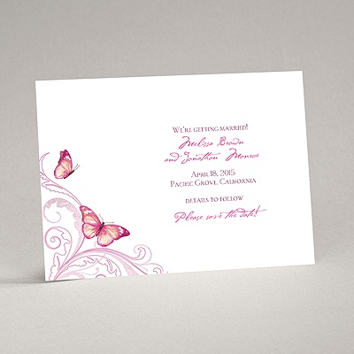 Delicate Butterfly - Fuchsia Save the Date Card