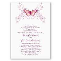 Delicate Butterfly - Fuchsia Invitation