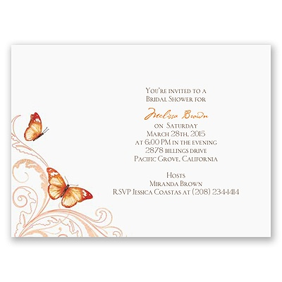 Delicate Butterfly - Orange Bridal Shower Invitation