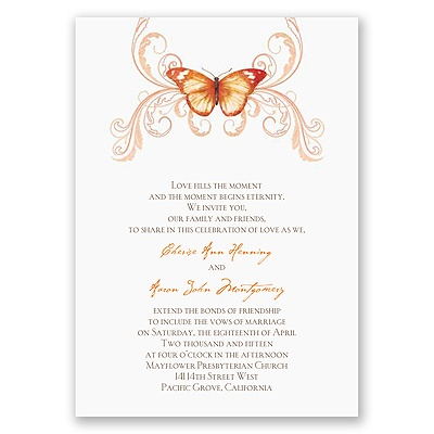 Delicate Butterfly - Orange Invitation