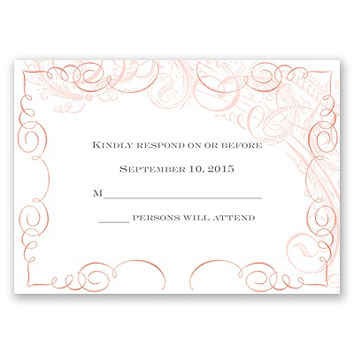 Calligraphy Motifs - Coral - Response Card and Envelope