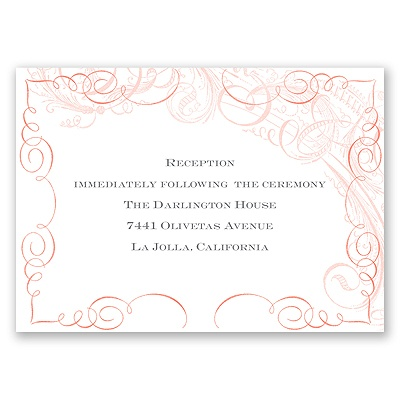 Calligraphy Motifs - Coral - Reception Card