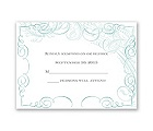 Calligraphy Motifs - Aqua - Response Card and Envelope