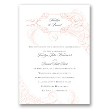 Calligraphy Motifs - Coral - Invitation