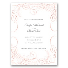 Calligraphy Motifs - Coral - Save the Date Card