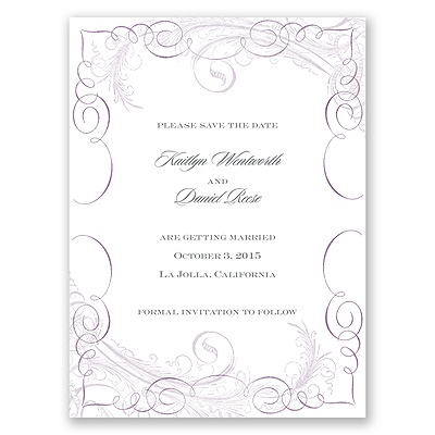 Calligraphy Motifs - Lavender - Save the Date Card