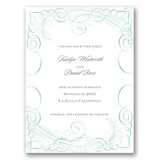 Calligraphy Motifs - Aqua - Save the Date Card