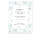 Calligraphy Motifs - Aqua - Bridal Shower Invitation