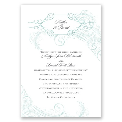 Calligraphy Motifs - Aqua - Invitation