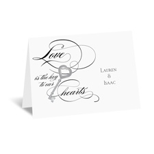 Key to Love - Black - Thank You Card and Envelope