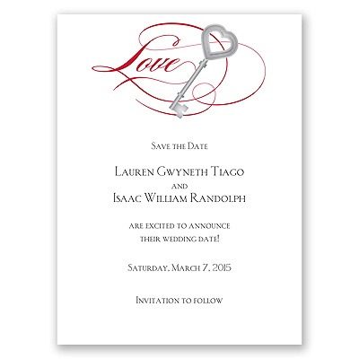 Key to Love - Red - Save the Date Card