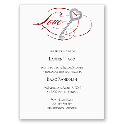 Key to Love - Red - Bridal Shower Invitation