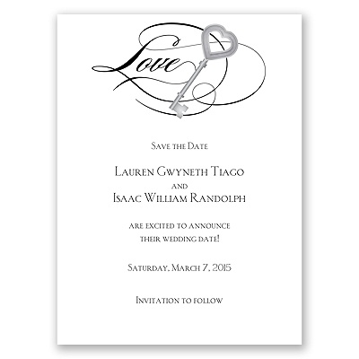 Key to Love - Black - Save the Date Card