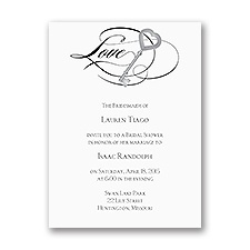 Key to Love - Black - Bridal Shower Invitation