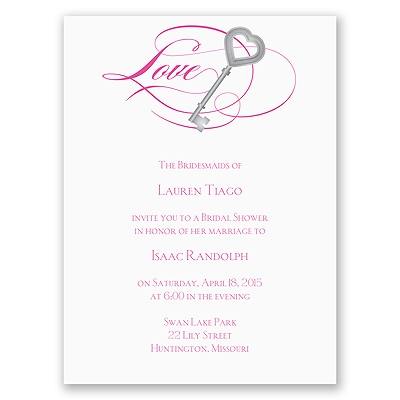 Key to Love - Fuchsia - Bridal Shower Invitation