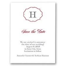 Classic Crest - Red - Save the Date Card